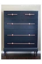 dresser with diy copper pipe drawer pulls, painted furniture, repurposing upcycling