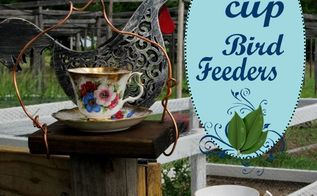 upcycled teacup bird feeder, crafts, repurposing upcycling