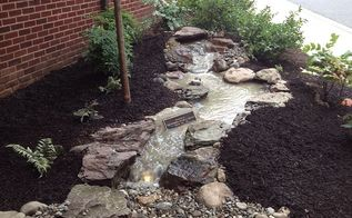 pondless waterfall memorial build, landscape, ponds water features