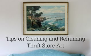how to clean and reframe thrift store art, crafts, repurposing upcycling