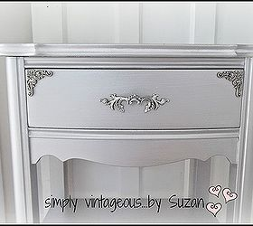 Furniture Makeover Silver Metallic End Tables, Painted Furniture
