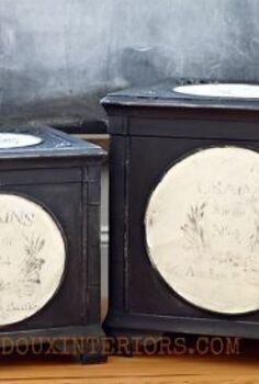 black and white fabric lined storage boxes with french graphic, crafts