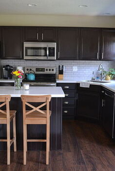 kitchen reveal dark cabinets light counters, countertops, home improvement, kitchen backsplash, kitchen cabinets, kitchen design, kitchen island