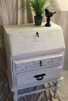 vintage secretary desk, painted furniture, shabby chic