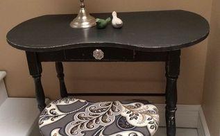 little black vanity desk, painted furniture
