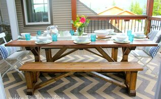 diy pottery barn knockoff table benches, outdoor furniture, painted furniture