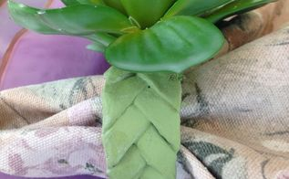 faux succulent and woven newspaper napkin ring, crafts