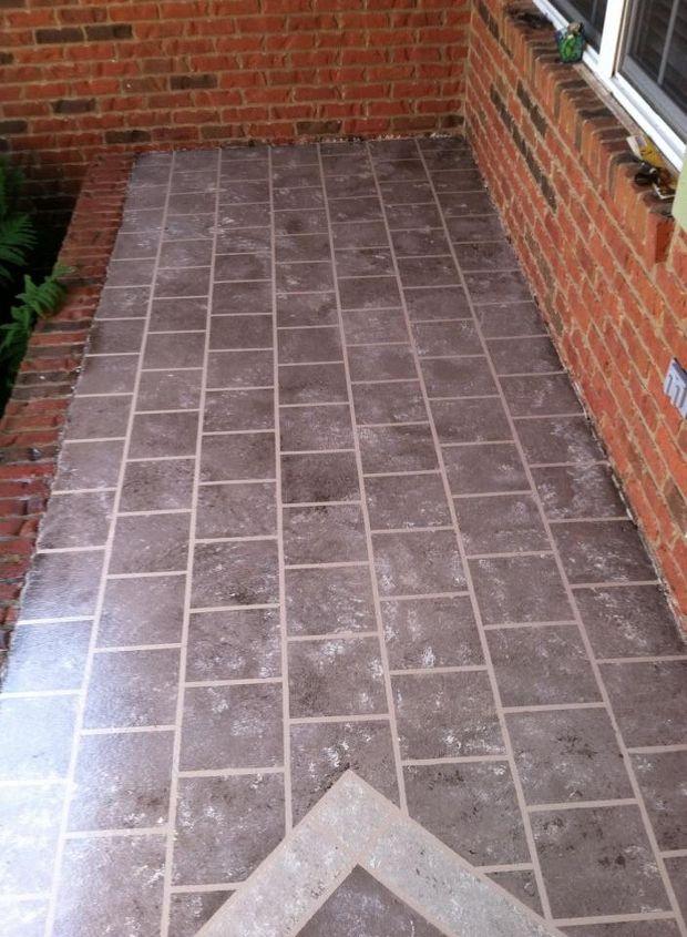 Front porch faux tile hometalk for Outdoor porch flooring