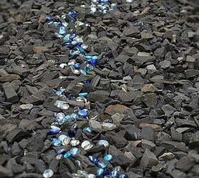 Charming How I Created A Garden Feature With Black Shale And Blue Glass Gems |  Hometalk