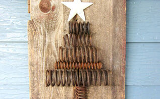 salvaged rusty industrial spring barn wood christmas tree, patio, repurposing upcycling
