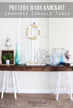 pottery barn knockoff sawhorse table, home decor, living room ideas, painted furniture