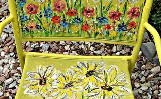 painted garden chair art, outdoor furniture, outdoor living, painted furniture