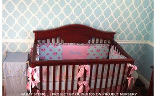 nursery girl blue pink stencil, bedroom ideas, painting, wall decor