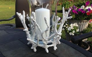 candleholder diy faux coral, crafts, decoupage, outdoor living