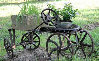 steampunk yard art, container gardening, flowers, gardening, repurposing upcycling