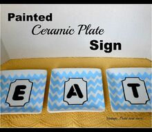 sign painted eat plate kitchen diy, crafts, home decor