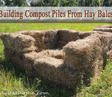 building compost piles from hay bales, composting, gardening, go green, homesteading