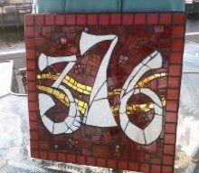 house number tile diy craft, crafts