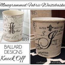 waste basket ballard monogrammed diy, crafts, repurposing upcycling