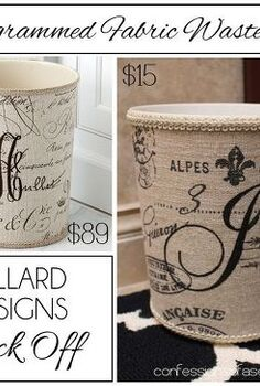 waste basket ballard monogrammed diy, crafts, repurposing upcycling