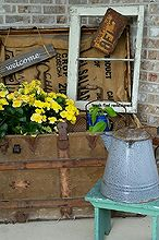 repurposed estate sale finds dress up my empty front porch corner, porches, repurposing upcycling, Front Porch in the Summer