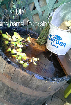 fountain wine barrel diy, gardening, outdoor living, ponds water features