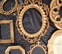 gold faux finish antique frames budget, painting, repurposing upcycling