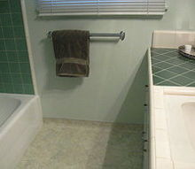 q looking for ideas for bathroom floor tile in small 50 s tract home, bathroom ideas, flooring, small bathroom ideas, tile flooring, tiling, two different colors of green tile as you can see but the shower tile will be behind a curtain most likely