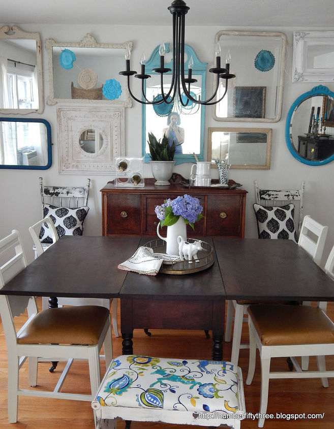 Summer dining room tour boho doily bunting hometalk - Our fave color for dining room decorating ideas ...