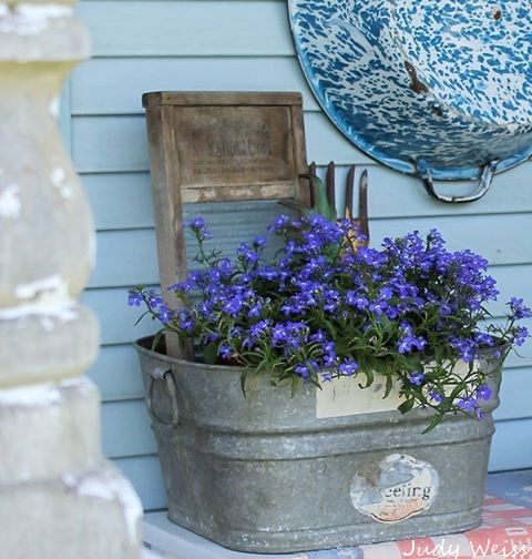 planter wash tub repurpose, container gardening, gardening, outdoor ...