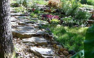 garden sloped yard water drainage, flowers, gardening, landscape, outdoor living