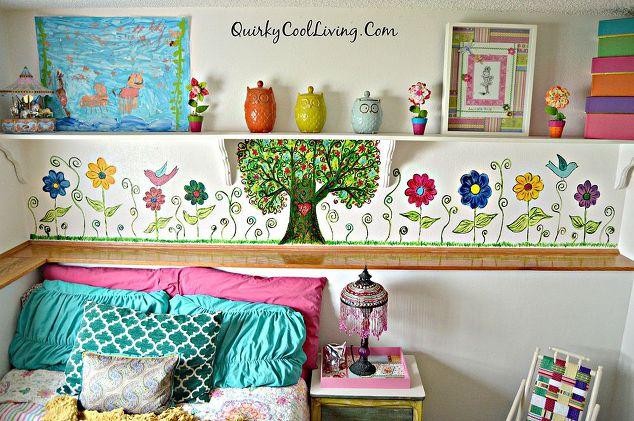 A bohemian inspired mural for little girls room hometalk for Diy little girls bedroom ideas