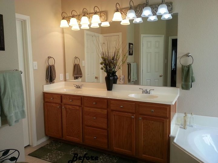 Bathroom makeover from boring to beautiful hometalk for Redoing small bathroom ideas