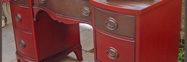q desk red wood oil paint, home decor, painted furniture