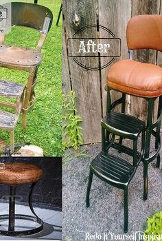 step chair junk yard redo, painted furniture, repurposing upcycling
