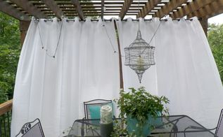 deck pergola turquoise white accents, home decor, home improvement, Purchase a curtain rod made for outdoors