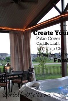 curtains outdoor drop cloth diy, decks, diy, outdoor living, reupholster, window treatments