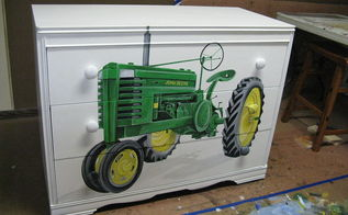 dresser painted tractor john deere, painted furniture, After