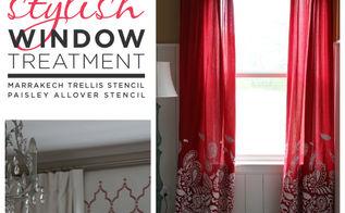 stencil window treatment, painting, reupholster, window treatments, windows