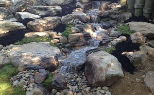 pondless waterfall backyard stone renovation, concrete masonry, landscape, ponds water features