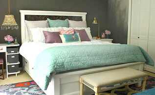 farmhouse king size bed with storage, bedroom ideas, diy, storage ideas, woodworking projects