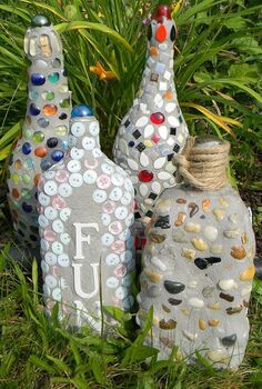 gardening ideas mosaics recycled materials, gardening, repurposing upcycling, Mosaic Bottle Makeovers
