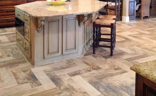 kitchen renovation modern day southern plantation, kitchen design, tiling, Kitchen with Herringbone Wood Look Tile