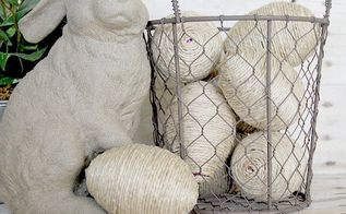 jute wrapped basket filler eggs, crafts, easter decorations, home decor, seasonal holiday decor