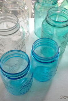 mason jars netted coastal decor, crafts, mason jars, repurposing upcycling