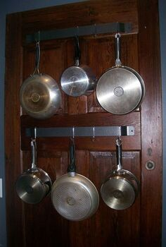 here s a better pic of our old new pot rack, kitchen design, organizing, shelving ideas