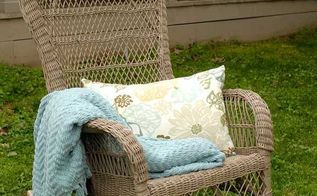 wicker rocker makeover yard sale budget, painted furniture