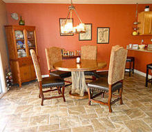 home renovation redo floors painting, flooring, home improvement, kitchen design, tile flooring, tiling, Dining Area