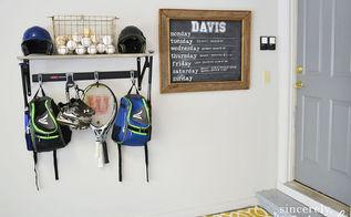 organization sports equipment, shelving ideas, storage ideas