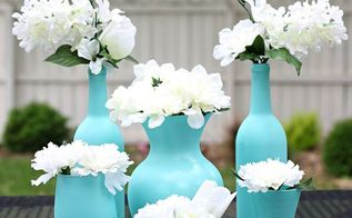 painting spray centerpieces glass easy, crafts, outdoor living, repurposing upcycling